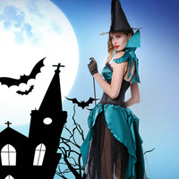 Halloween Cosplay Costumes Witch Role Playing Costumes Demon Suits Long Dress Witch Hat Western Festive Carnival