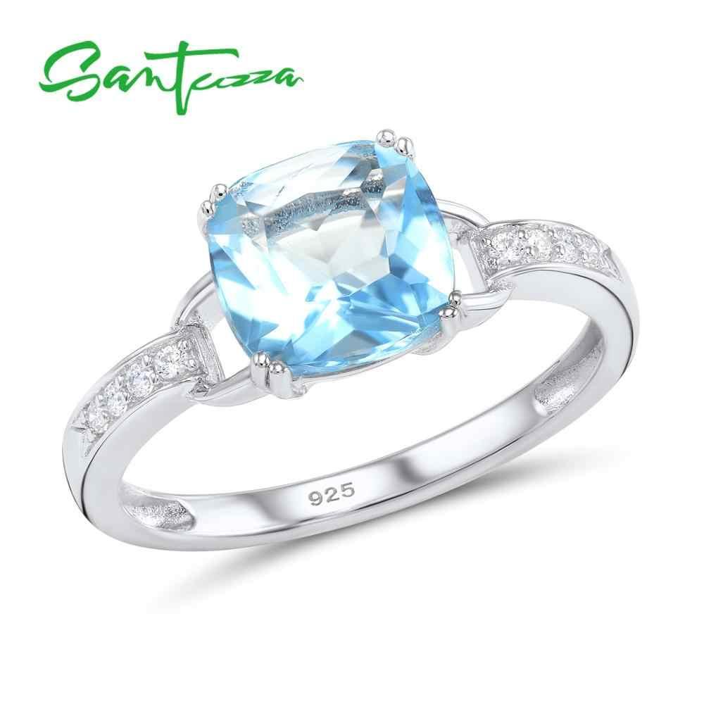 SANTUZZA แหวนเงินผู้หญิง 925 เงินสเตอร์ลิงใหม่ล่าสุดประกายหรูหรา Blue Sky Bague Bijoux แฟชั่นเครื่องประดับ