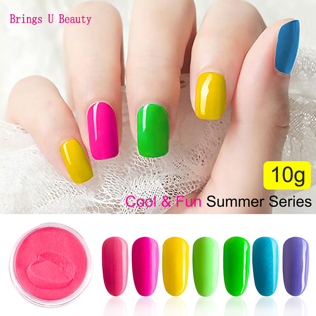 Very Fine 10g/Box  Summer Series Color Dipping Powder Without Lamp Cure Nails Dip Powder Gel Nail Color Powder Natural Dry Color