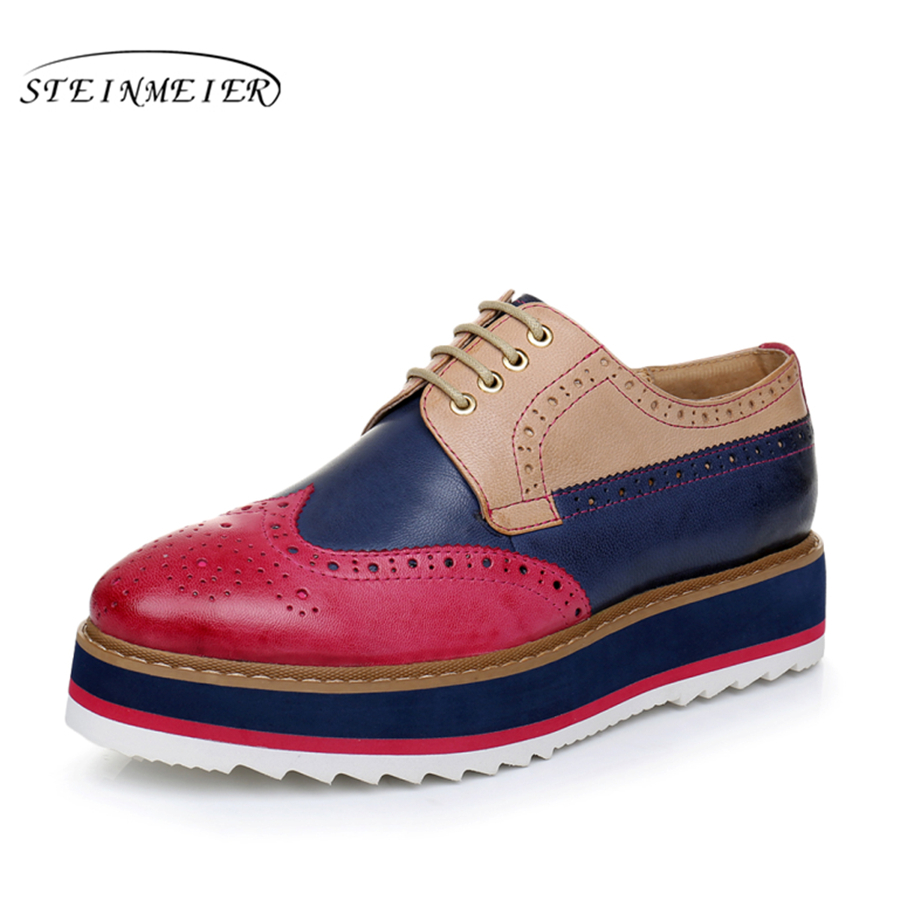 Genuine leather woman size 8 designer vintage flat shoes round toe handmade flat platform pink blue