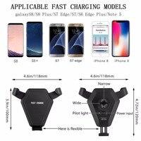 Coche Rápido Cargador inalámbrico Teléfono Del Sostenedor Del Montaje de Reacción de La Gravedad para el iphone 8 Plus X para Samsung Galaxy S6 S7 S8 Más 5 V/1A
