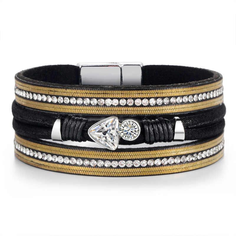 2019 Fashion Jewelry Bracelet Ladies  Women Leather Long Bracelet with Crystal Beads and Metal Charms Bracelet Jewelry