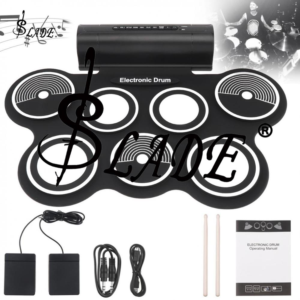 7 Pads Digital Electronic Drum Roll Up Silicone Drum Double Speakers Stereo Electric Drum Kit With Drumsticks And Sustain Pedal