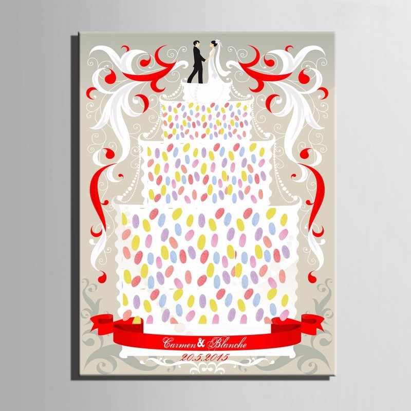 Большой палец отпечаток пальцев Подпись Холст Картина невесты свадебный торт платье Вечерние свадебный подарок, украшение DIY книга гостей