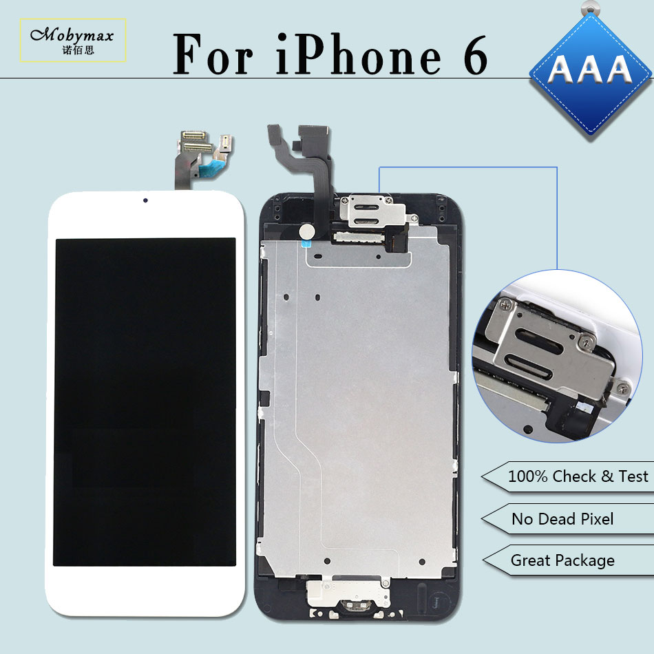 Mobymax 5PCS Display for iPhone 6 A1549 A1586 LCD Ecran Pantalla Touch Screen Digitizer Full Assembly+Home Button+Front Camera
