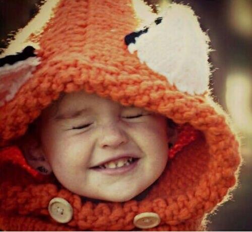 3D Ear Adorable Ski Winter Fox Beanie Baby Kids Warm Hat Hooded Scarf Earflap Knitted Wool Cap Hats