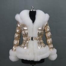 Free shipping new winter women big collar golden puffer jacket/ popular fox fur down coat
