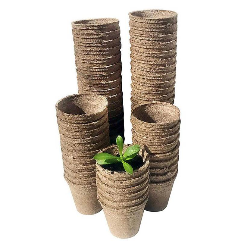 10pcs/set 8*8cm Electronic Medicine Paper Tray Pulp Nursery Cup Biodegradable Flower Plate For Garden Supplies