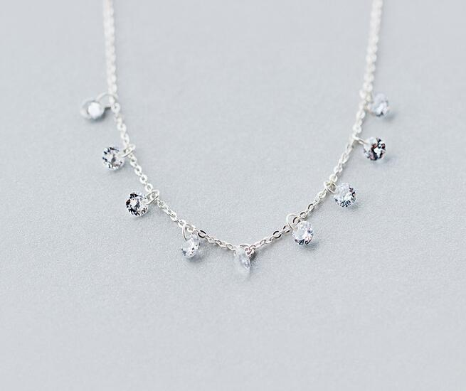 ALI shop ...  ... 32710575428 ... 2 ... Real. 925 Sterling Silver Round crystals CZ AAA+ Pendant Statement station Necklace Sweet GTLX740 ...