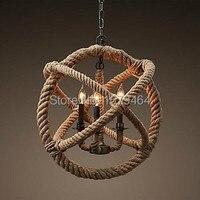 Творческий Ретро 3 лампы пеньковая веревка люстра Ретро Страна Стиль