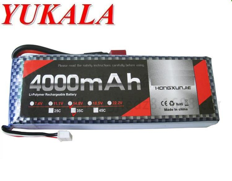 YUKALA 14.8V 4000mAh Li-polymer battery for RC car RC helicopter RC quadcopter free shipping yukala ft012 2 4g rc racing boat hq734 rc car 11 1v 2700 mah li polymer battery