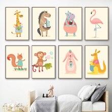 Жираф бегемот кролик обезьяна кенгуру скандинавские плакаты и принты Wall Art Холст Картины  Лучший!