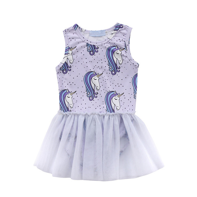 cdae9514a5f Newborn Baby Girls Unicorn Romper Dresses Casual Mesh Lace Patchwork Dress  For Girls 2018 Summer Purple