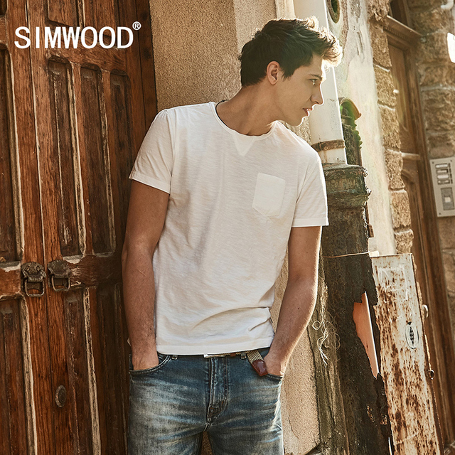 SIMWOOD 2017 Summer  New T Shirt Men Slim Fit Cotton Curl Hem O neck Short Sleeve Brand Clothing TD017030