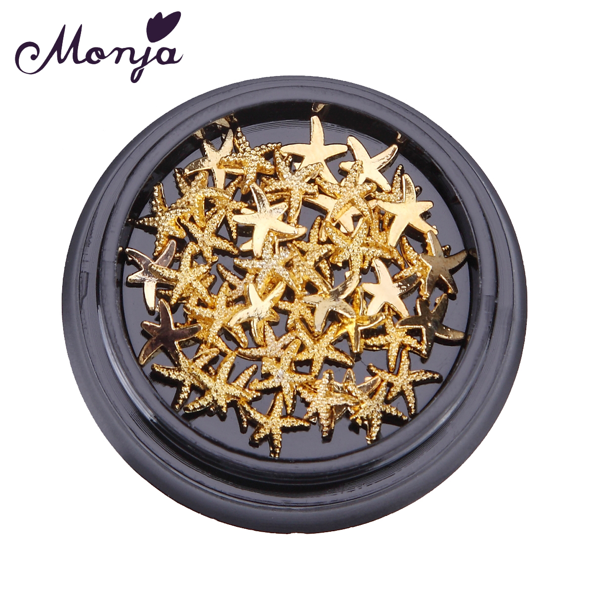 1 Box Reusable Metal Nail Art Golden Starfish Decoration Set Gel Polish Tips Pro Manicure 3D Design DIY Sticker Decal Phone Kits 10 color 20m rolls nail art uv gel tips striping tape line sticker diy decoration 03ik