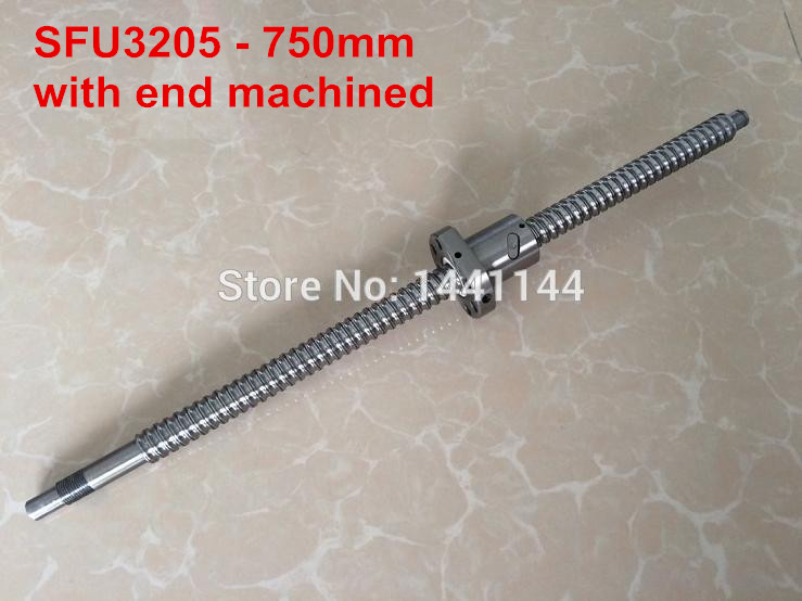 SFU3205- 750mm ballscrew with ball nut with BK25/BF25 end machined ballscrew 3205 l700mm with sfu3205 ballnut with end machining and bk25 bf25 support