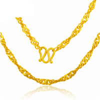 New Solid 24K Yellow Gold Necklace Women Water Wave Necklace chain 6.85g