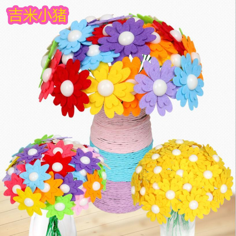 21cm Handicrafts Arts Crafts Toys For Children DIY Button Flower Felt Toy Girl Gift Kits Kindergarten Kids Creative Educational