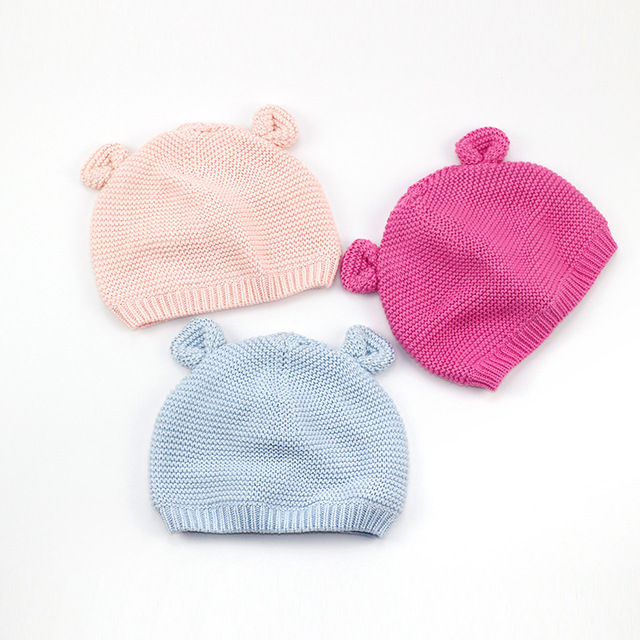 756501ab Cotton Cute Baby Beanie Bear Ears Knitted Beanie Hat For Girls Cartoon Infant  Toddler Boys Hat Double Layer Crochet Hat Winter
