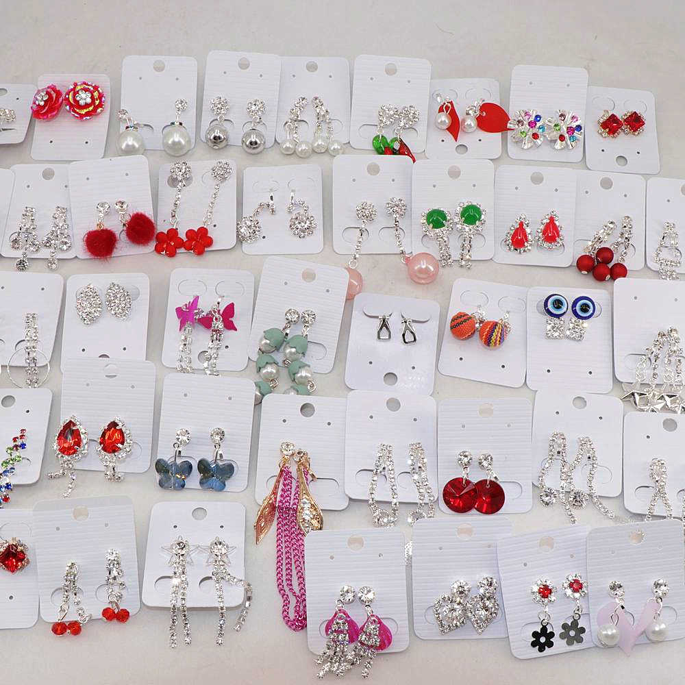 Wholesale 30pairs/Lots Mix Style Cute Crystal Clip Earrings For Women Party Gift Jewlery