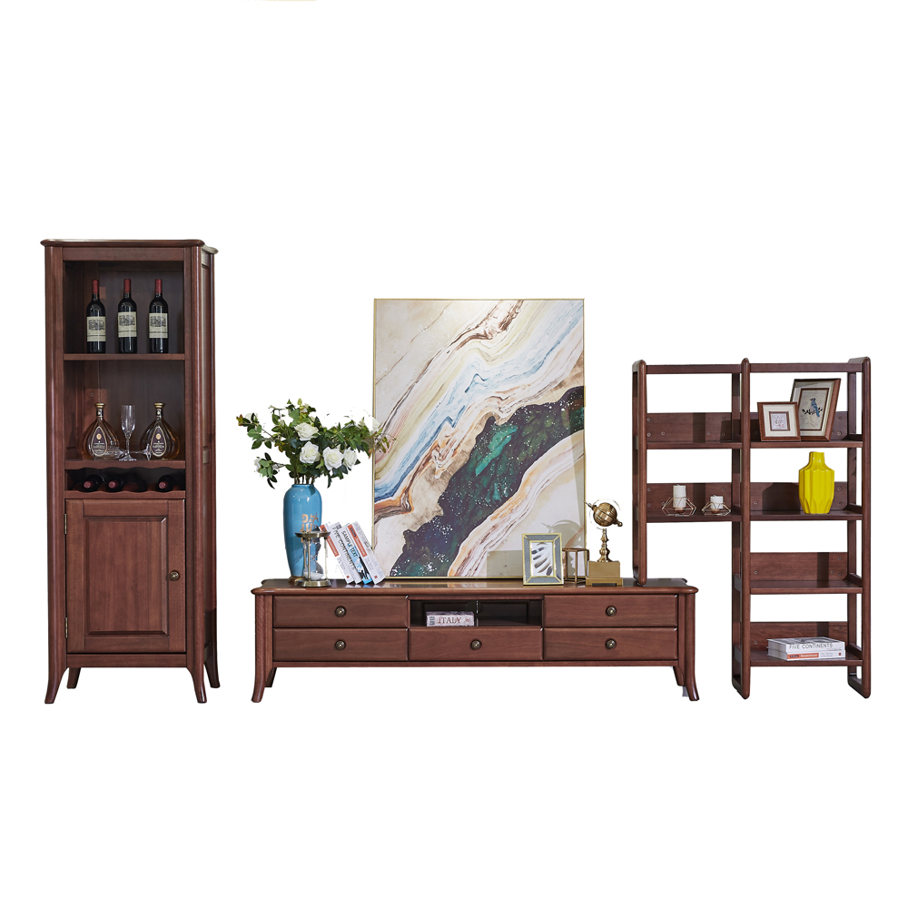 3 Pcs New Chinese Solid Wooden TV Cabinet Wine Cabinet Combination Nordic Style Living Room Furniture Gold Sandal Wooden Cabinet