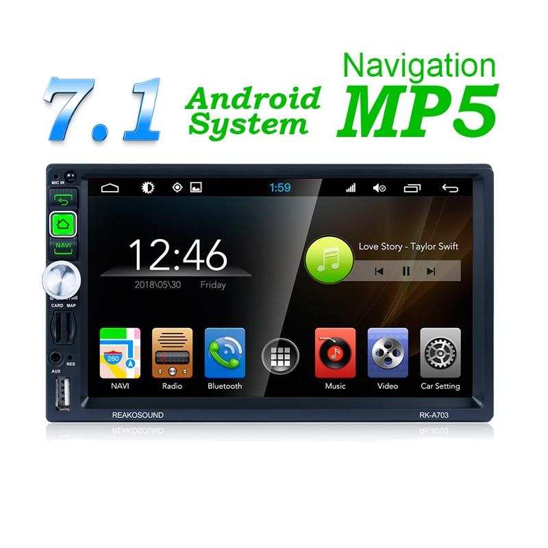 MP5 RK-A703 Andriod 7.1 HD 1024*600 Carro de Navegação GPS Bluetooth Receptor phonelink AM FM RDS AUX Rádio Do Carro carregador & para a Câmera