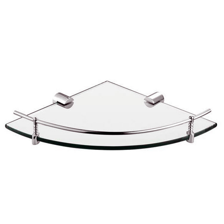 Modern Bathroom Accessories Products Solid Brass Chrome Finished Corner Glass Shelf GB012G-2