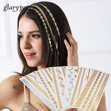 1 Piece Hot Flash Leaf Bracelet Gold Metallic Tatoo HT200 Temporary Sexy Women Hair Wrist Body Art Jewelry Tattoo Sticker Design
