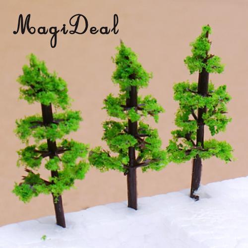 MagiDeal 100Pcs Model Fir Tree Train Set Plastic Trunks Scenery Landscape for Street Train Track Railway Railroad Layout Scene