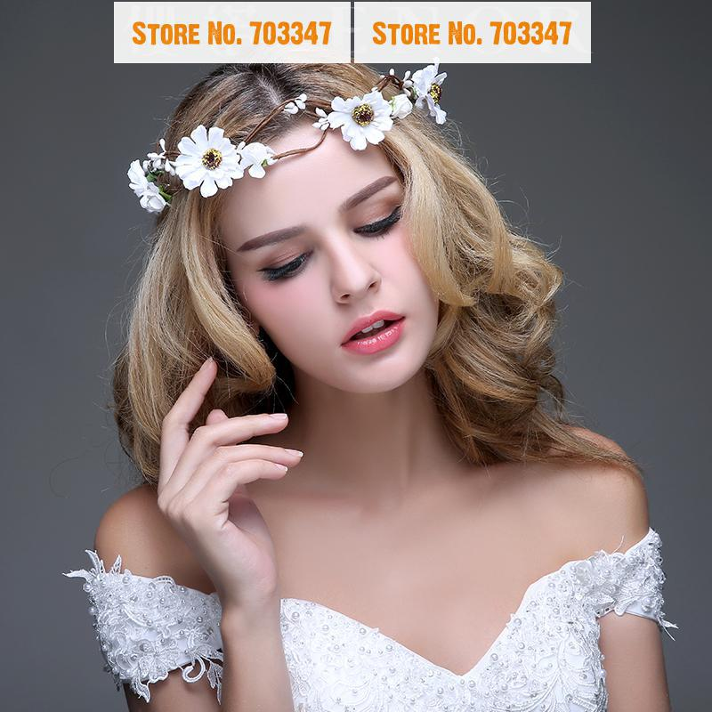 2015 NEW!! Fairy Bride Floral Daisy Flower Hair Garland Crown Flower Wedding Hair Garland *Free Shipping*