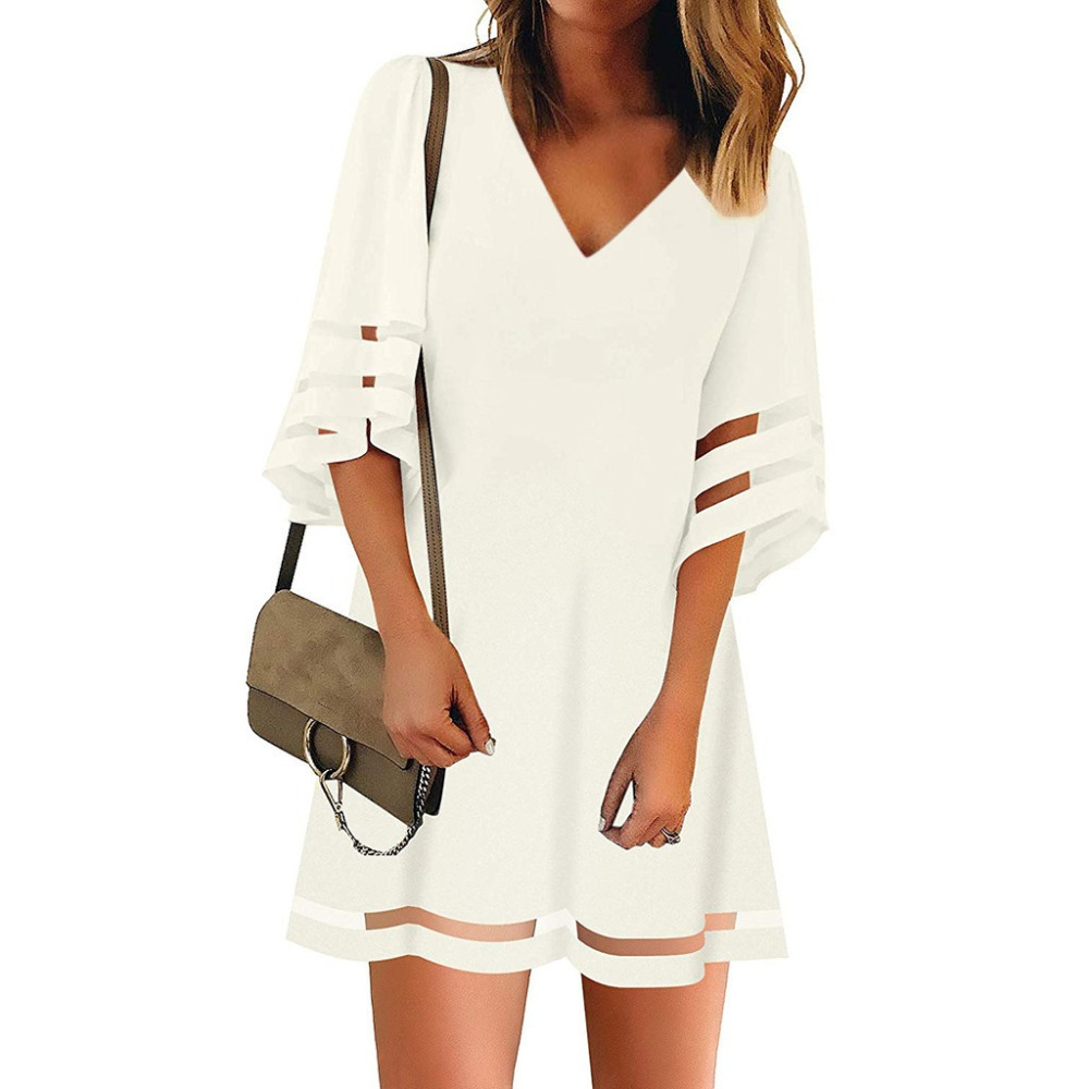 2019 Women Beach Dress Short Tunic Shirts Dress Solid V Neck Cover Up Beachwear Suit Summer Sleeve Loose Top Shirt Dress Q60