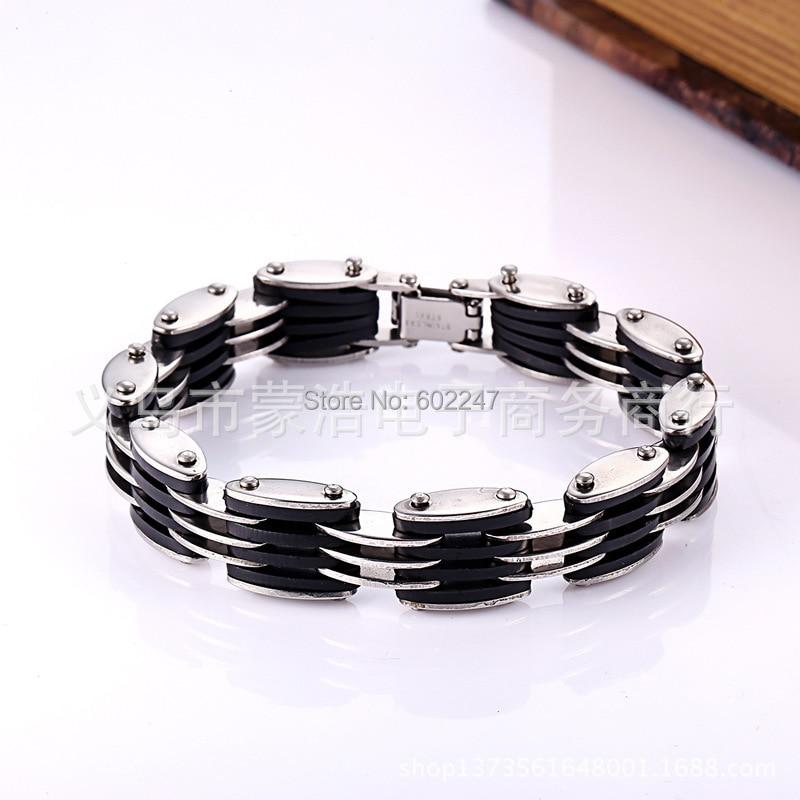 Cn /_ Eg /_ Stylé Tendance Homme Femme Silicone Acier Titane Bracelet Bracelet