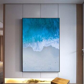 Morze plaża Seacape Ocean zachód słońca plakat styl skandynawski wystrój pokoju dziecięcego fale morskie malowanie dekoracji salonu drukowany obraz