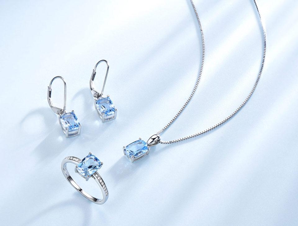 Honyy Sky blue topaz silver sterling jewelry sets for women EUJ054B-1-pc (4)