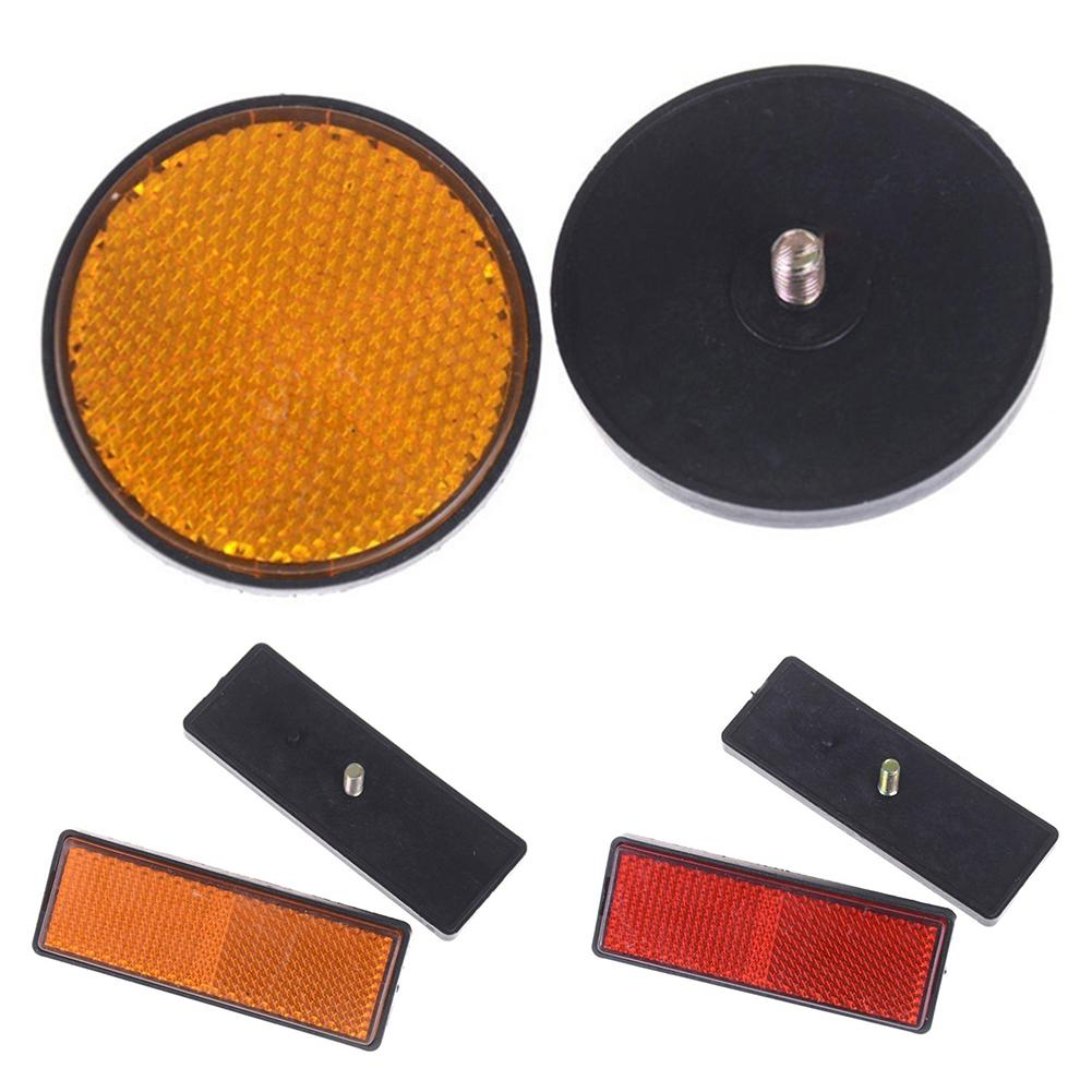 2Pcs Rectangle Round Cinta Reflectante Car Motorcycle Bike Caravan Lorry Screw On Safety Reflector Car Exterior Accessories