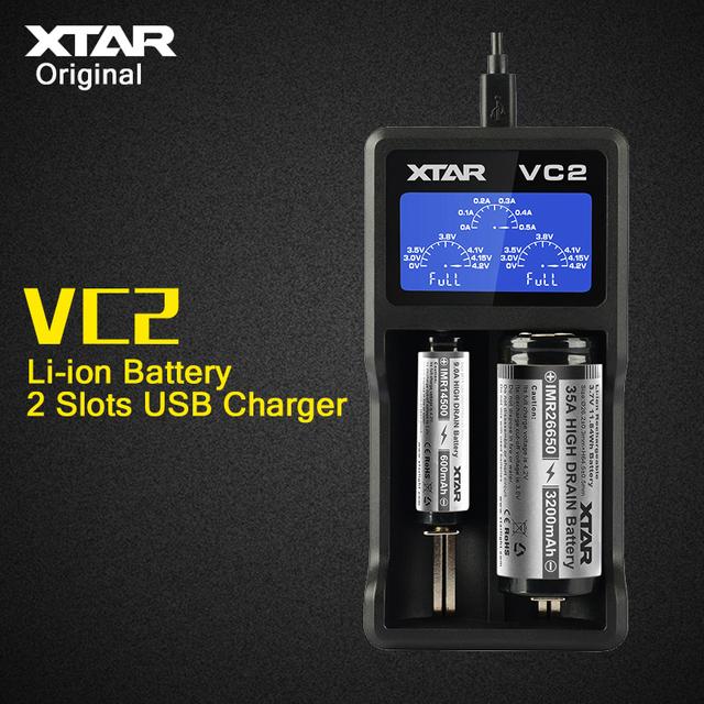 XTAR originales VC2 2 Slots Corriente 1A Universal USB Inteligente Cargador de batería con Pantalla LCD para 3.6 V/3.7 V Li-ion 18650