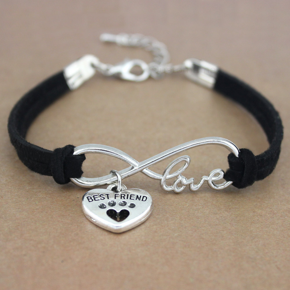Best Friends <font><b>Dog</b></font> Paws Heart Unicorn Animal Infinity Love Charm <font><b>Bracelets</b></font> Women Men Girl Boy <font><b>Unisex</b></font> Jewelry 20 Colors to Choose image