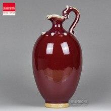 Jun porcelain vase Jingdezhen ceramics red flower is small decoration room desktop