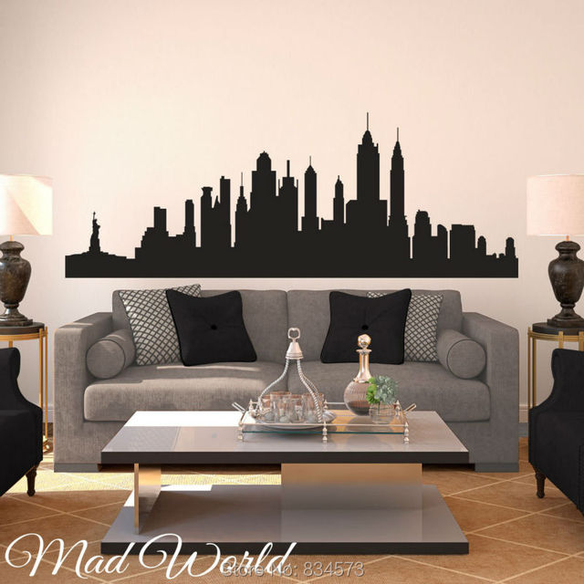 mad world new york city skyline silhouette wall art stickers decal