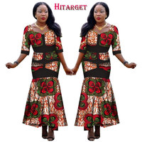 2018 HitargetNew African Wax Print Dresses for Women Bazin Riche Cotton Party Dress Dashiki Sexy African Fashion Clothing WY1140