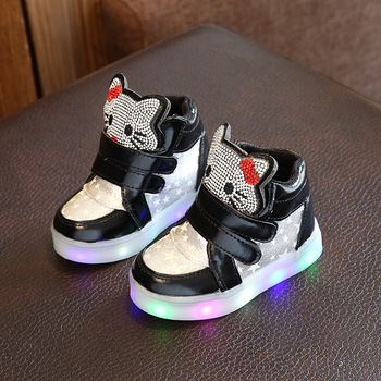 Girls  Light Sneakers  Breathable Flexible Kids Sports Star Shoes  Children Led Light Casual Shoes Eu Size 21-30