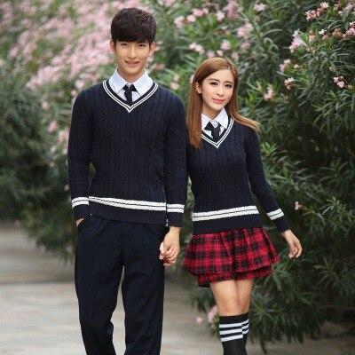 c6dafd19be26b Escuela de Invierno uniformes de los hombres y las mujeres los estudiantes  japoneses uniformes de la universidad para niñas niños traje suéter plisado  falda ...