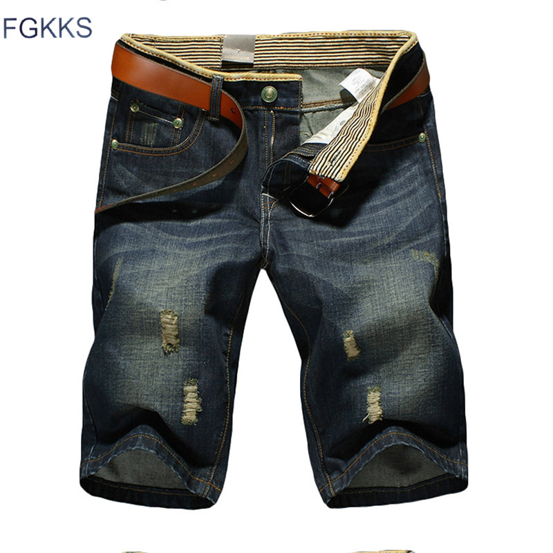 цены  FGKKS 2017 New Brand High Quality Men Short Jeans Fashion Ripped Hole Male Denim Shorts Slim Casual Mens Shorts (No Belt)