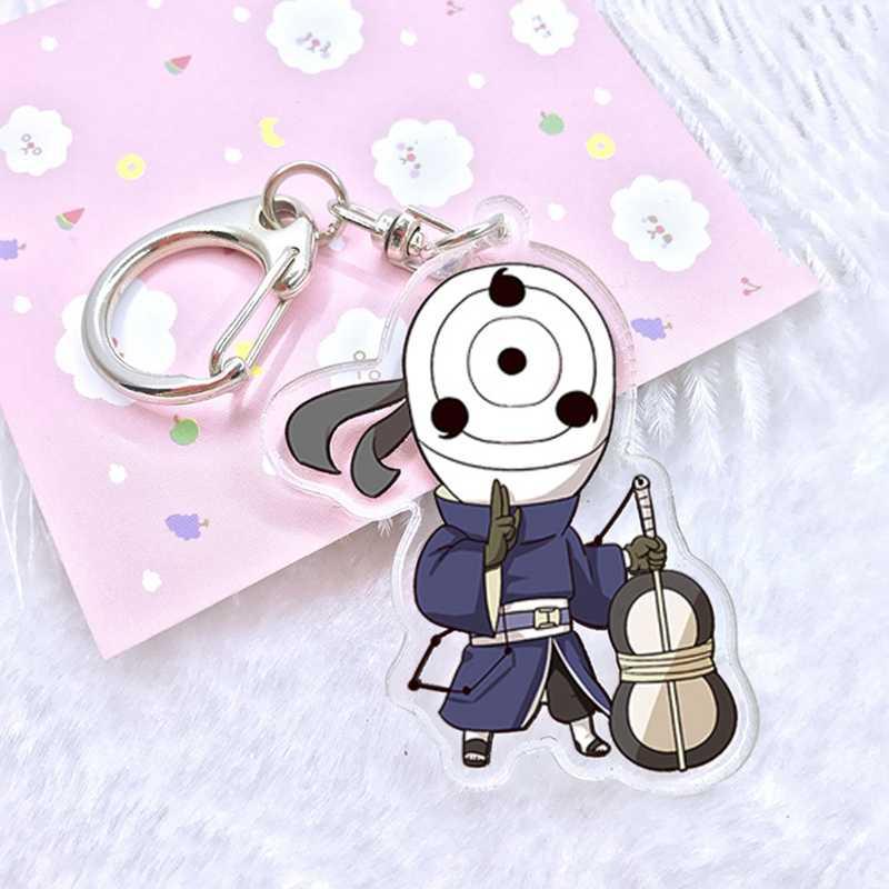 Милый японский брелок в стиле аниме Наруто фигурка Саске Какаши брелок кулон акриловый двухсторонний брелок для ключей оптовая продажа набор