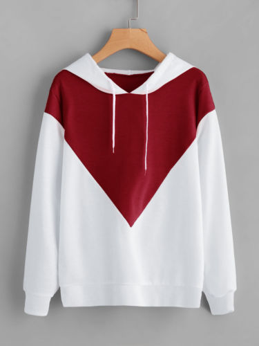 White Red Patchwork Sweatshirt Women Lady Hoodie Long Sleeve Jumper Casual Loose Hooded Pullover Tops Coat Women Clothing