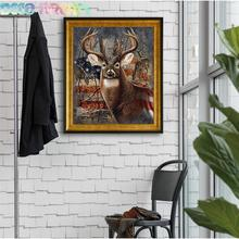 5pcs Aliexpress Value Set Diy Full Resin Round Diamond Painting Cross Stitch Embroidery Elk With Stars And Stripes Hobby Mosaic