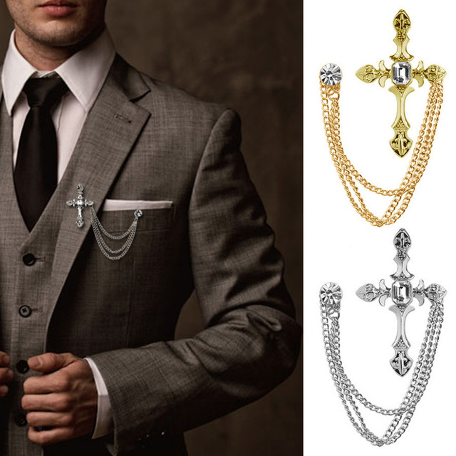 Men S Rhinestone Cross Chain Brooch Lapel Pin Shirt Suit Wedding Accessory Gift