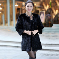 Черный реального норки пальто с мехом для женщин круглым вырезом средней длины оптовая продажа с фабрики низкая цена женский из норки мехов
