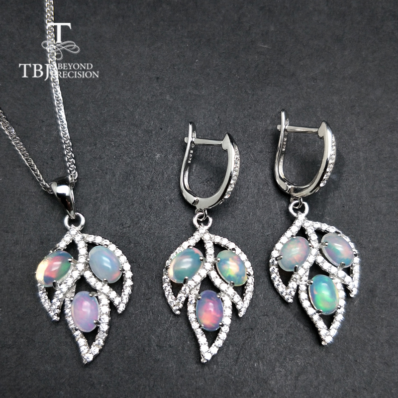 TBJ Tree leaf jewelry set with natural opal clasp earring and pendant in S925 silver colorful