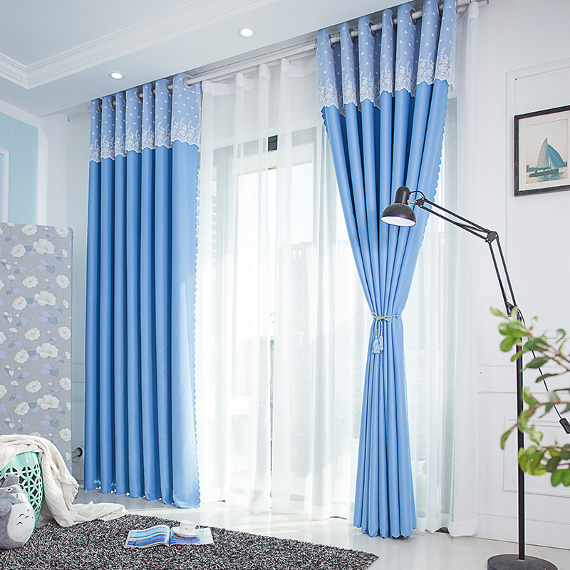 1 Panel 85% 95% Shading Modern Style Solid Color Curtain with Lace Top Thick Blackout Curtain for Living Room Window Custom Made